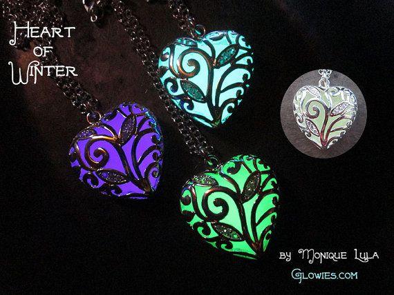 Heart of Winter Frozen Glow in the Dark Necklace by MoniqueLula