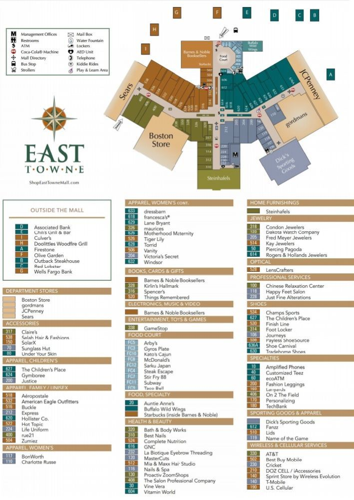 East Towne Mall Shopping Plan Mall Mall Stores East Town