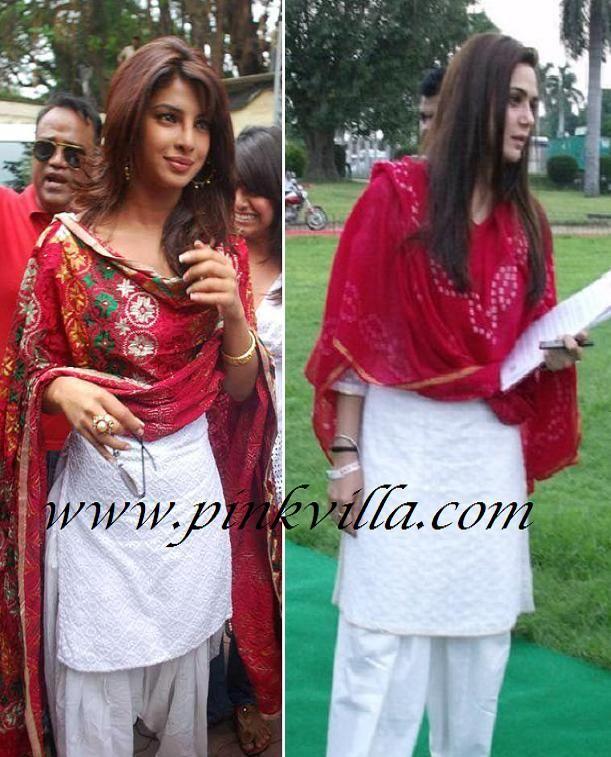 Priyanka Chopra OR Preity Zinta in white Salwaar Kameez and red Dupatta?