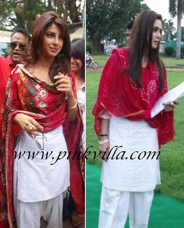 Priyanka Chopra OR Preity Zinta in white Salwaar Kameez and red Dupatta? .. Priyanka