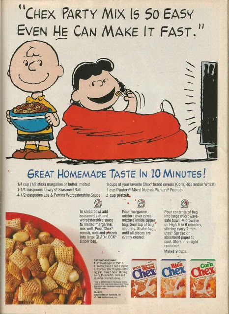 Charlie Brown, Lucy, and Chex Party Mix~1994 Woman's Day *full recipe ...