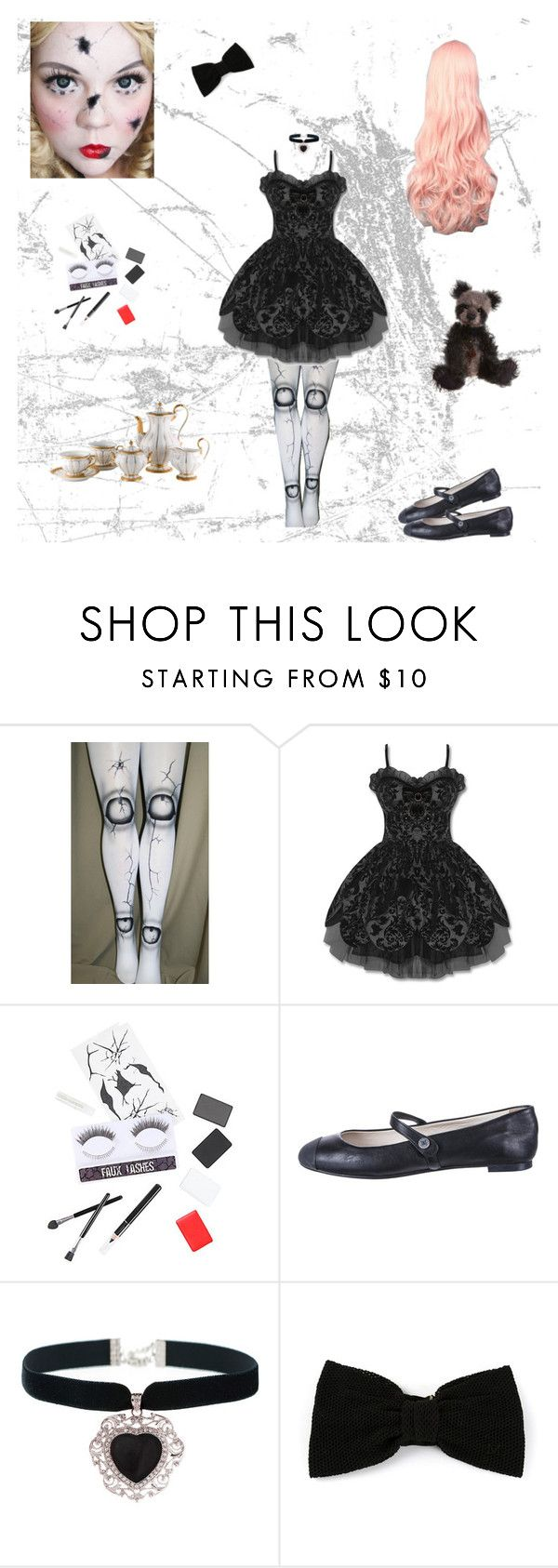 """""""Broken Doll Costume"""" by evangeline-purdy-girl ❤ liked on Polyvore featuring Hell Bunny, Chanel and Maison Michel"""