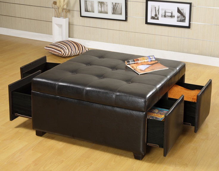 Espresso Leather Square Storage Ottoman With Drawers