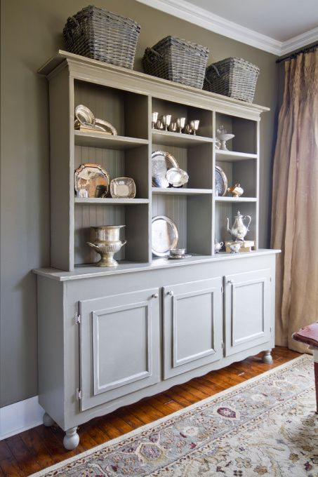Love the gray paint to highlight the silver.  So modern, but rustic at the same time.