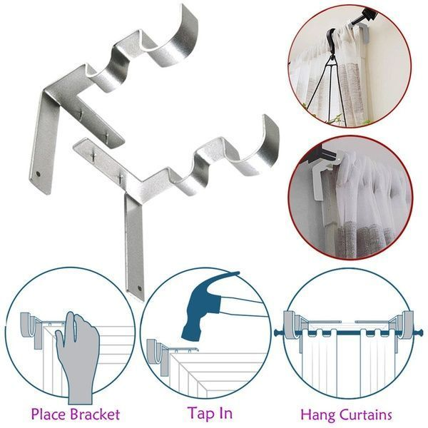 Home Decor Double Curtain Rod Bracket Hanging Window Bar Bracket