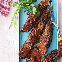 Grilled Short Ribs. Rachael Ray. Marinate in brown sugar, soy sauce, oil, garlic, and paprika