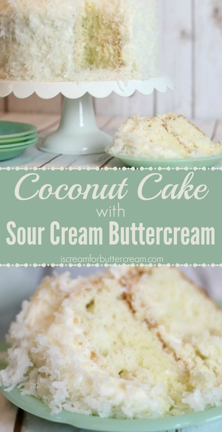 This coconut cake is a tender cake with subtle coconut flavor. Sour cream buttercream adds tanginess, the perfect compliment for this cake.