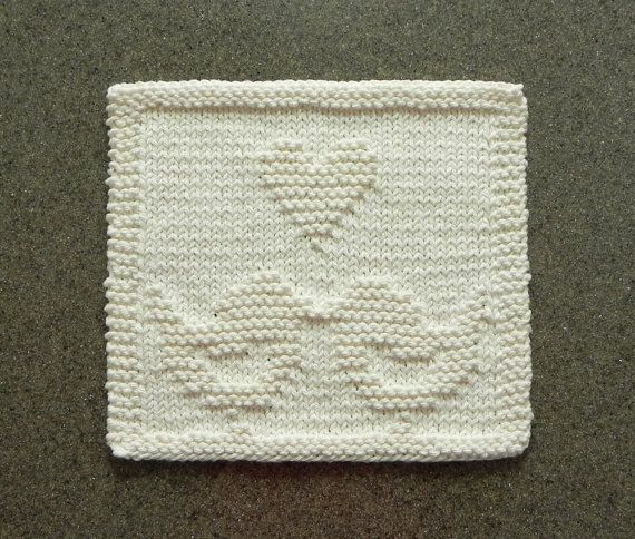 LOVE BIRDS Knitted Dishcloth Unique Hand by ...