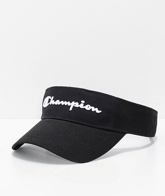 e696fa8f7ae004 Throwback your style with the Twill & Mesh black visor from Champion.  Detailed with black mesh on the underside of the bill, this cotton twill  visor is ...