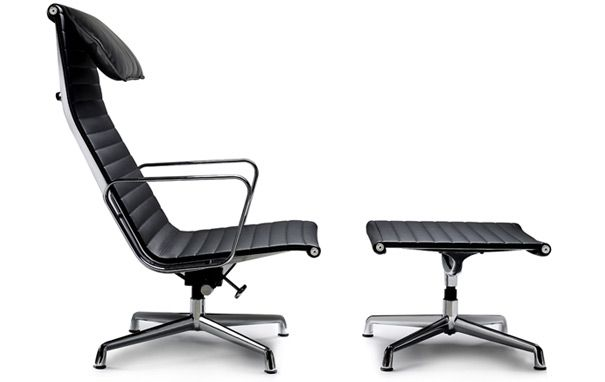 Eames EA124 Lounge Chair & EA125 Ottoman.Lounges Chairs, Group Lounges, Aluminium Chairs, Ea125 Ottoman, Eames, Chairs Charles, Aluminum Group, Design Classic, Ea124 Lounges