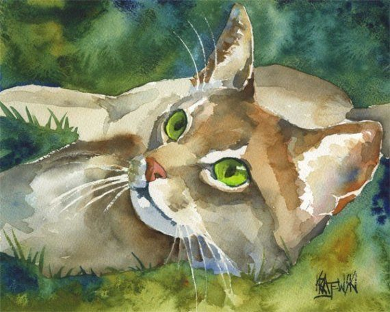 Abyssinian Cat Art Print of Original Watercolor by Ron Krajewski