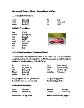 super handy one page reference sheet to all german prepositions listed by case sheet includes. Black Bedroom Furniture Sets. Home Design Ideas
