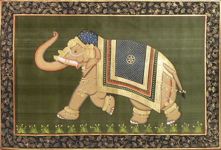 Decorated Royal Elephant - Painting on Silk