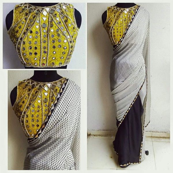 This pure satin georgette sari with a yellow pure mirror worked blouse is the perfect contrast.