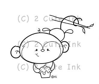 Monkey Cupcake 2 Cute Ink Digital Stamp! $3.00