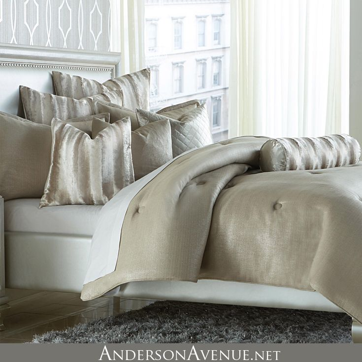 beautiful tailoring and faux fur accents further enhance the mix of shimmering fabrics this luxury comforter set