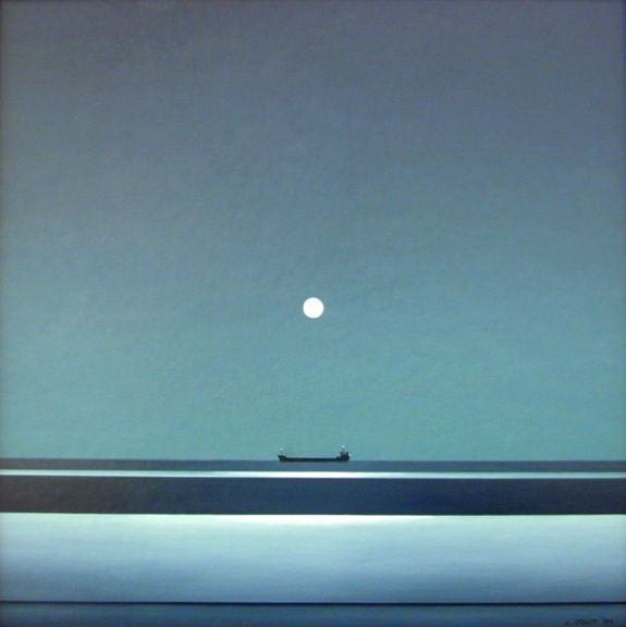 Christopher Pratt, Ice, Moon and Tanker, 2007