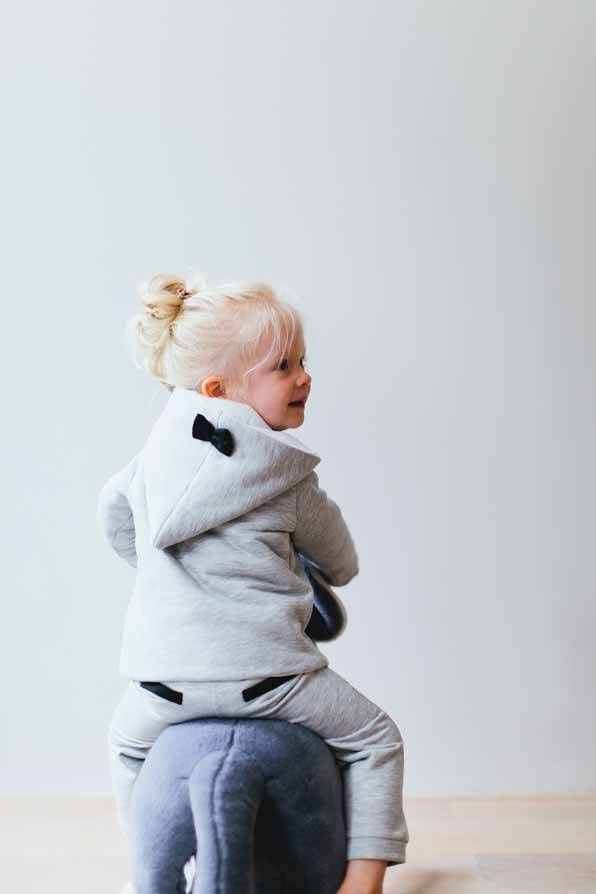 Bow Tie Hooded Jacket - Stone  #Hooded #jacket #bow #tie #stone #grey #kids #fashion #clothes #fun
