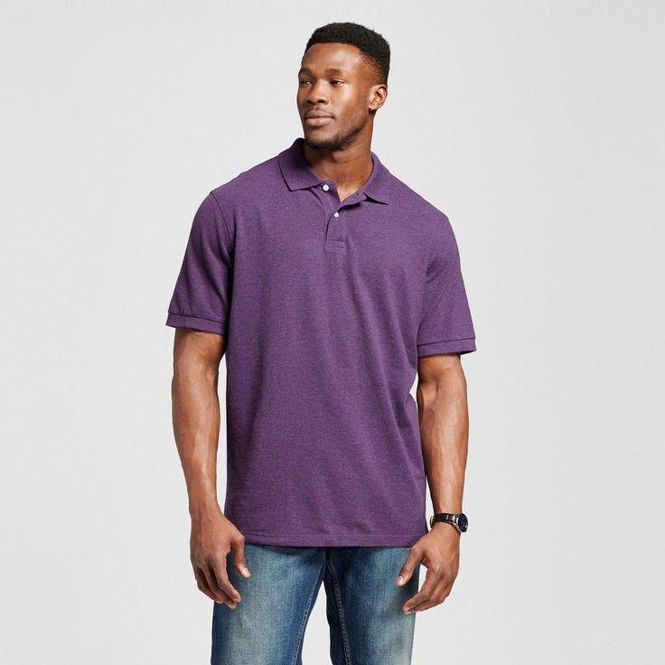 Men's Big & Tall Polo Shirt Purple XL Tall - Merona
