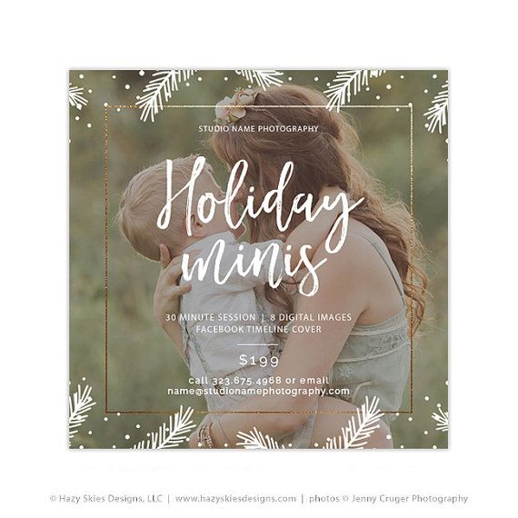 Holiday Mini Session Template, Christmas Photography Marketing Template, Marketing Board, Advertisement Template, Photoshop Templates AD228