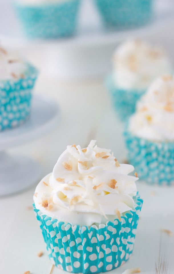 These coconut angel food cupcakes are light and airy with hints of coconut in the cake and whipped cream frosting. The perfect summer recipe!