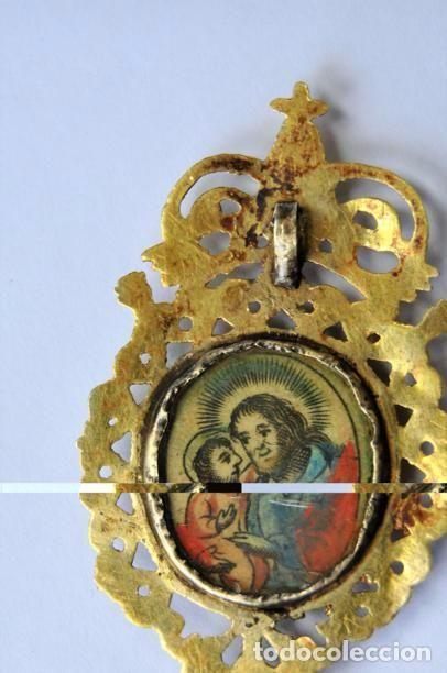 Antigüedades: MUY ANTIGUO RELICARIO DEVOCIONARIO EN ORO DE 9K CRISTAL PINTADO EPOCA BARROCA SIGLO XVII - Foto 7 - 79821021