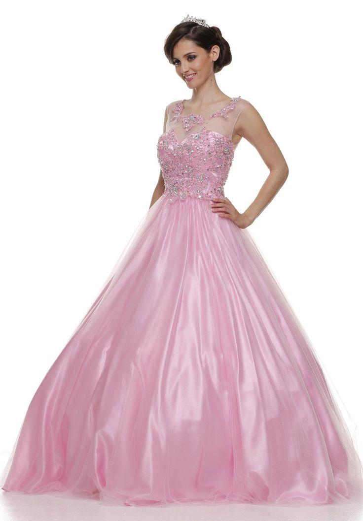 Jewel Neckline Mesh Yoke Long Purple Engagement Gown