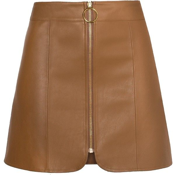 Brown Leather Ring Circle Zip Skirt ($95) ❤ liked on Polyvore featuring skirts, mini skirts, bottoms, leather skirt, short leather skirt, faux-leather skirts, short skirts and front zip skirt