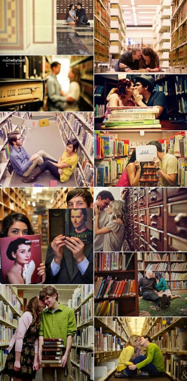 Really like the ones where they are sitting in the aisle, kissing behind the shh sign, and can just be seen over the stack of books