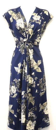 New Ladies slinky Deco Bird WWII 1940's Vintage style Land Girl Swing Tea Dress