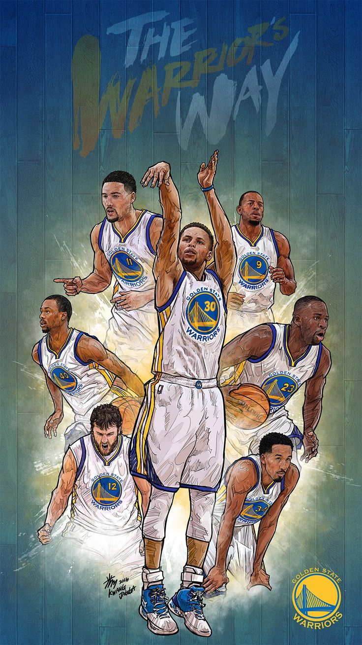NBA Phone Wallpaper - Artist: Kim MinSuk (김민석) #Yellowmenace #basketballart #GSW…