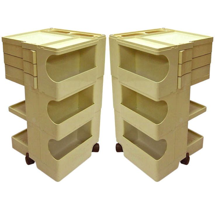 Pair of Vintage Boby Storage Trolleys by Jo Colombo Designed 1968 Italy