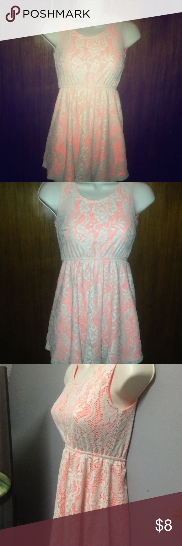 Lace dress Beautiful dress cream lace over coral Faded Glory Dresses Casual
