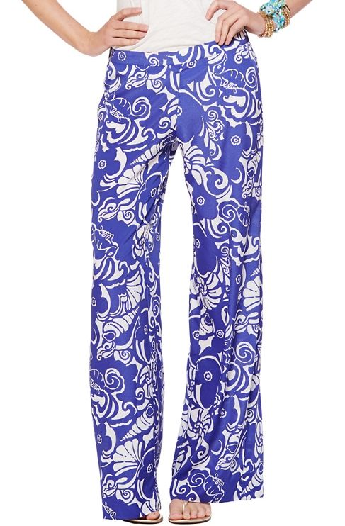 Lilly Pulizter Middleton Palazzo Wide Leg Pant in Quahog Chowdah