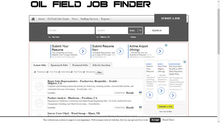 Welcome to Oilfield Job Finder, your new home for oil field jobs as well as oil and gas news. Oilfield Job Finder is here to help put people back to work after this recent slowdown in oil activity from falling oil prices. We're also here to help out the oil companies. Both sides meet here, and come together to form long lasting relationships with members of the oil community.The benefits of using Oilfield Job Finder will help your company save time and money. Instead of paying hundred.