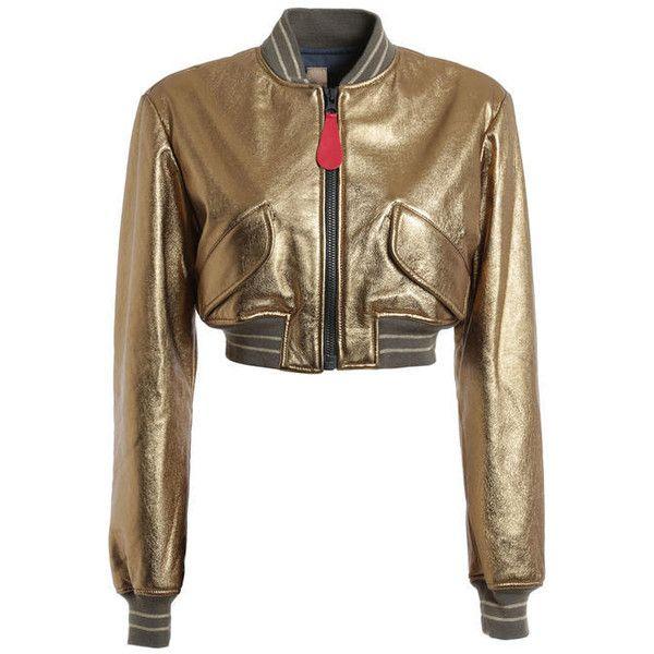 Golden bomber jacket ($730) ❤ liked on Polyvore featuring outerwear, jackets, blouson jacket, bomber style jacket, brown bomber jacket, brown jacket and flight jacket
