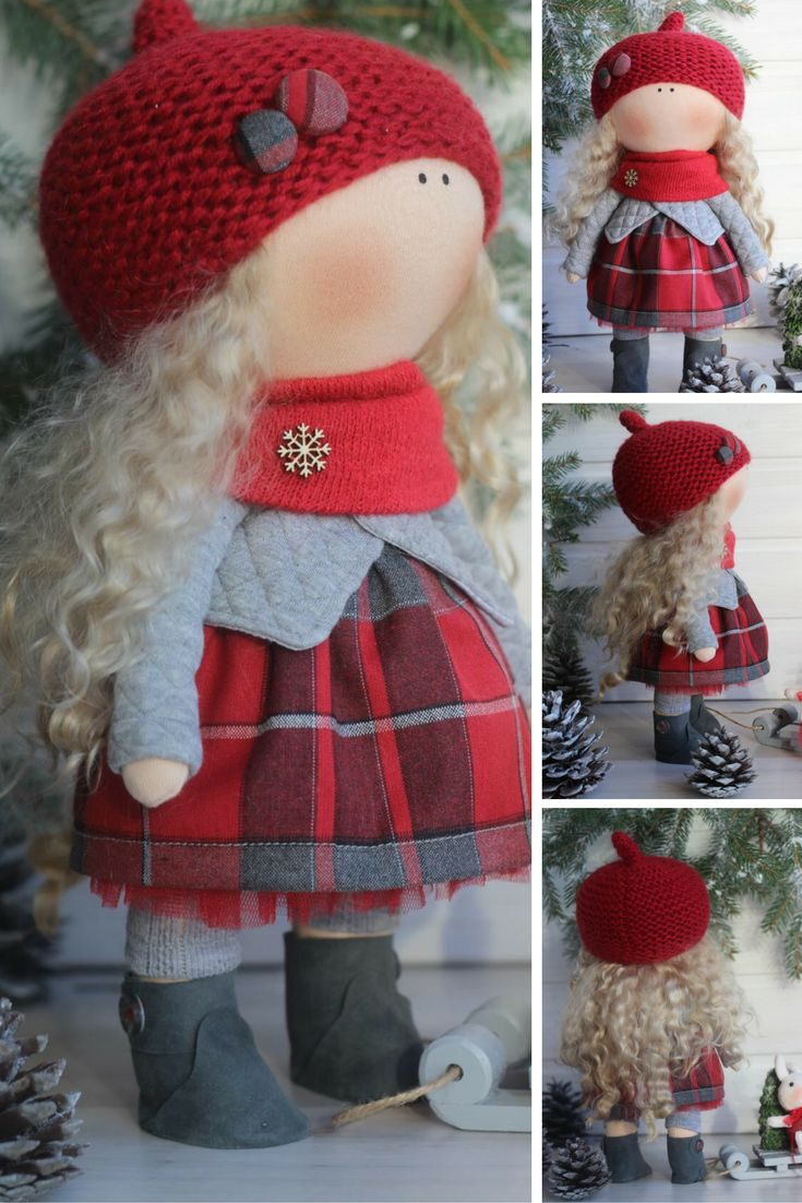 Christmas doll ready to ship doll Tilda doll Handmade doll Textile doll Fabric doll Cloth doll Rag doll Interior doll by Master Oksana Z