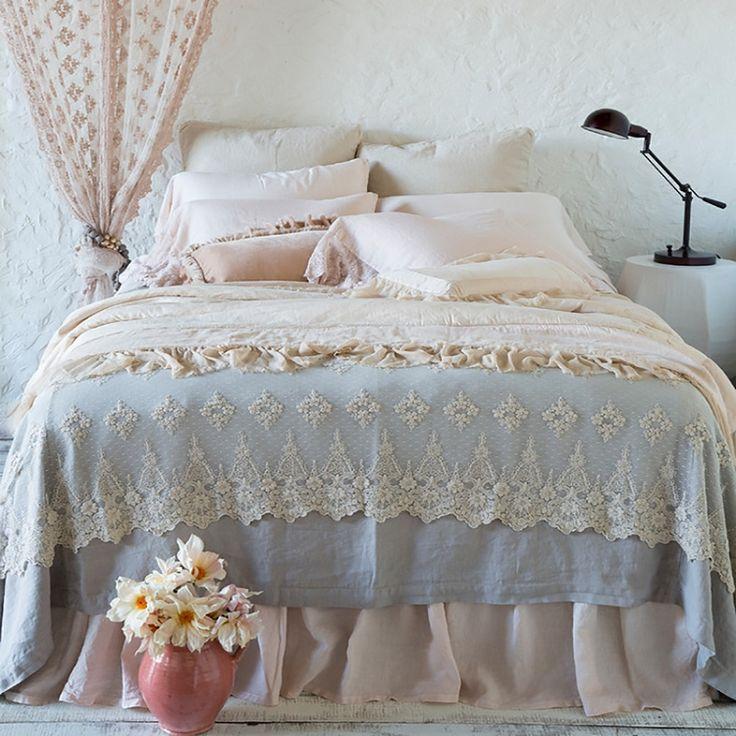 Bella Notte Linens Seville Bedding Set, Luxury Linen & Lace  #bellanotte #bellanottestyle #bellanotteliving #bellanottebedding #bellanottebaby #bellanottefabric #lavenderfields #bellanottelinenBedding Set