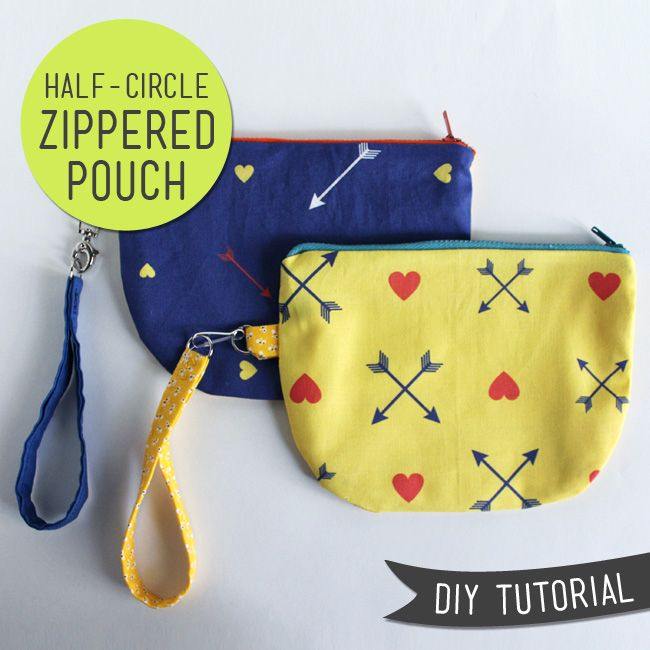 #DIY Tutorial –Half Circle Zip Pouch (with free pattern)