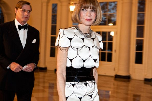 Anna Wintour, editor-in-chief of Vogue magazine (R), arrives with Shelby Bryan for a State Dinner in honor of British Prime Minister David Cameron at the White House on March 14, 2012 in Washington, DC.  Sip With Socialites  http://sipwithsocialites.com/