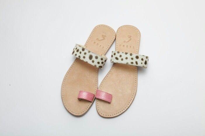 athina pink ( handmade leather sandal ) with pony skin