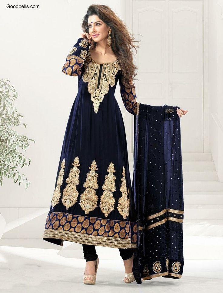 Salwar Kameez:R40P672   Pakistani Style Full Length Blue Salwar Kameez