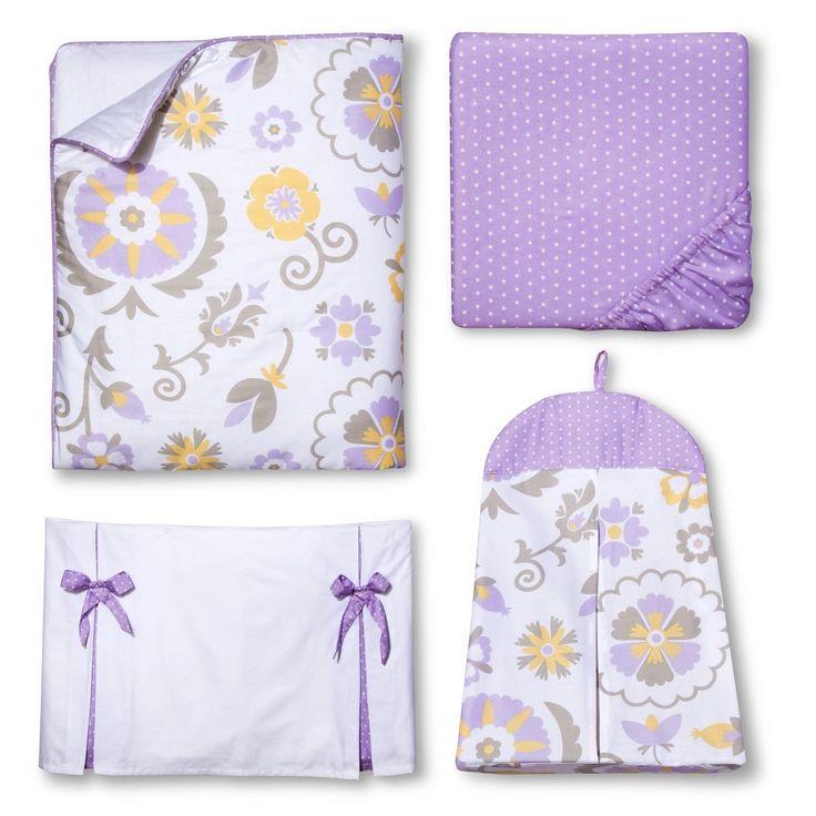 Sweet JoJo Designs 11pc Lavender Suzanna Crib Bedding Set - Lavender, White, Grey, Yellow