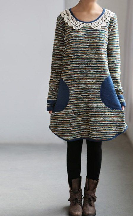 Temptation/ Cute doll tunic dress/ Pullover Long T shirt/ gown Bottoming shirt. $72.00, via Etsy.