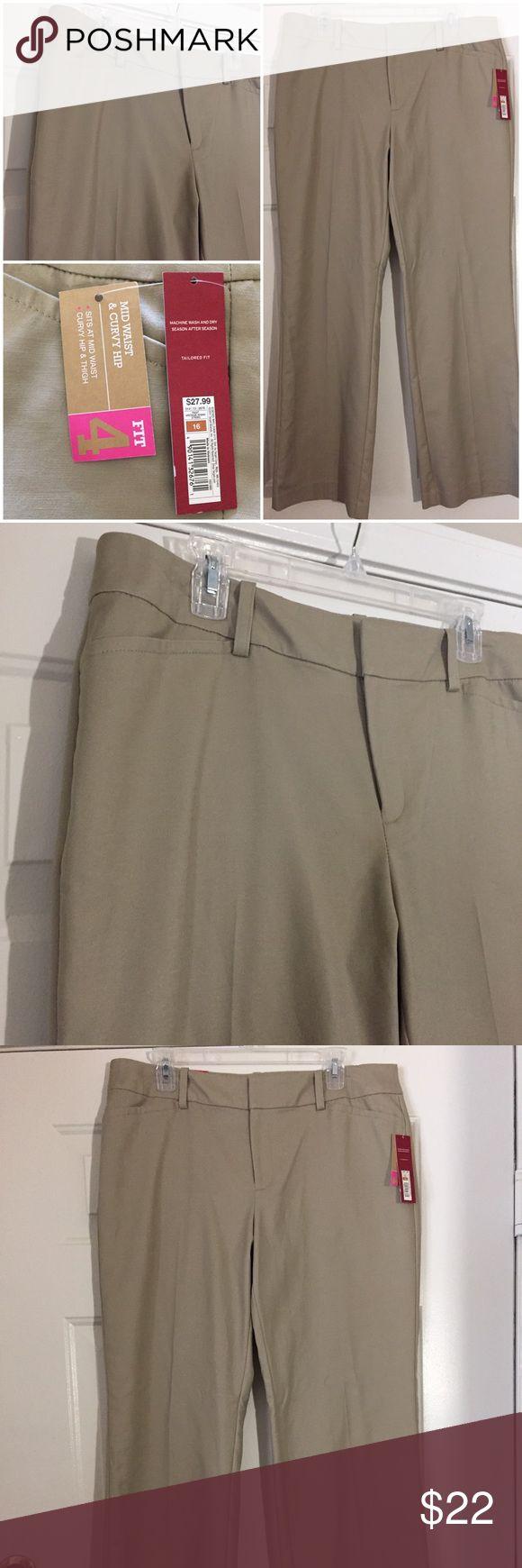 NWT NEW TAN STRETCH TROUSER SLACKS PANTS SZ 16 NWT NEW TAN STRETCH TROUSER SLACKS PANTS SZ 16.  FIT 4 - MID WAIST & CURVY HIP. Merona Pants