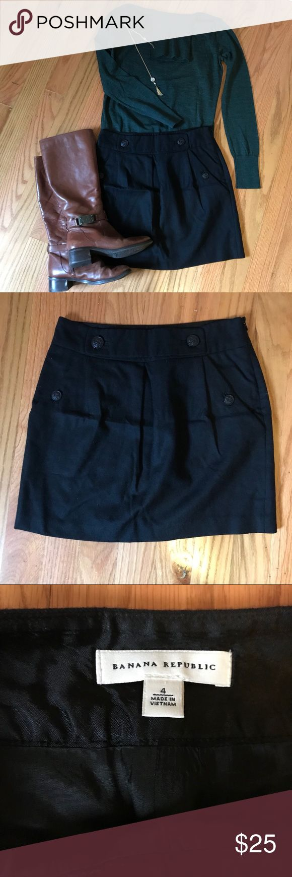 "Banana Republic Black Wool Military style Skirt NWOT Banana Republic Black wool military style skirt. This skirt is super cute when paired with boots, tights and a sweater. Size 4. 14 1/2"" waist 16 1/2"" length Banana Republic Skirts Midi"