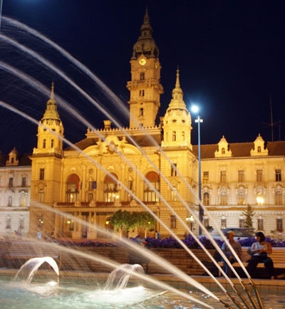 Main square of Gyor, Hungary at night