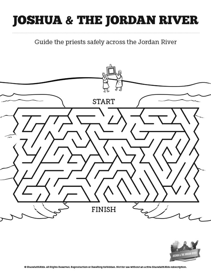 Joshua 3 Crossing the Jordan River River Bible Mazes: Can your kids navigate every twist and turn of this Crossing the Jordan River activity. With just enough challenge to make it fun, this Crossing the Jordan Bible maze is perfect for your upcoming Joshua 3 Sunday school lesson.