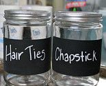 Chalkboard labels and old jars combine to make unique storage for all of those little items your little girls collects. Great for a rustic country bedroom.    need! <3