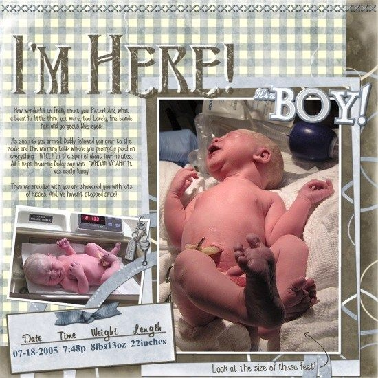 im here baby scrapbook page | baby album iu002639m here page digital scrapbook artisan baby ...